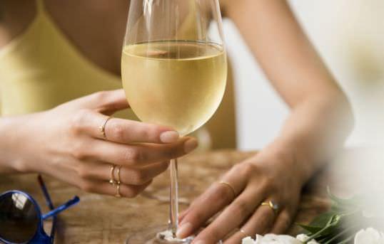 drinking white wine